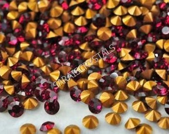 50 pcs Swarovski Crystal Rhinestones Pointed Back Chatons Ruby color PP13 (ss6) 1.9 - 2.0mm 13pp