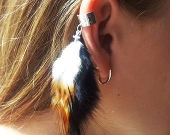 Feather Ear Cuff- Black Cross