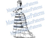 Victorian Dress Engraving, Instant Digital Download, 1870s #5
