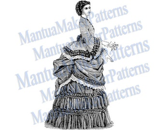 "Victorian Dress Engraving, 11"" tall, Instant Digital Download, JPG & PNG, 1871 #17"