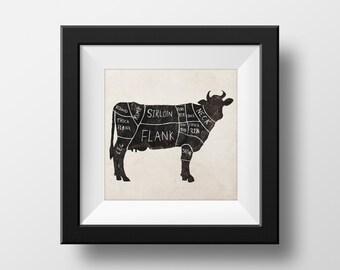 Butchers Cow Chart Kitchen illustration giclée Print
