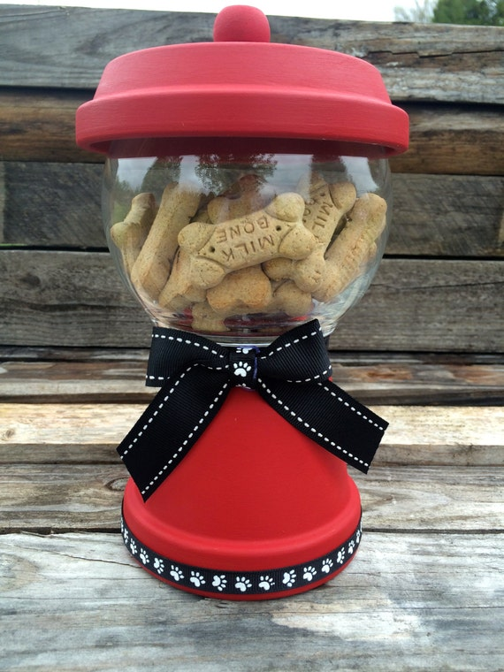 Dog Treat Canister~Red Faux Gumball Machine~Pet Treat Jar~Pet Food Jar~Cat Treat Canister~Dog Treats~Cat Treats~Paw Print~Christmas Gift