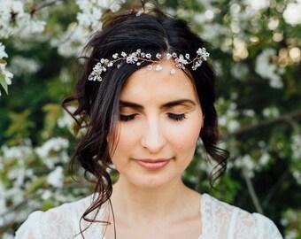 "Wedding Hair Accessory, Beaded Headband, Bridal Headband, Crystal Halo, Boho Bridal Crown ""Joe"" color silver, gold o copper"