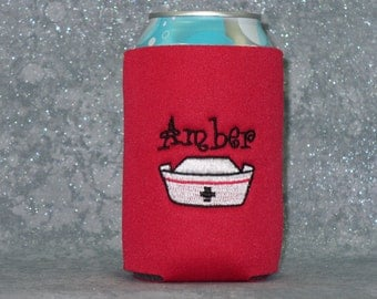 Can Cooler, Nurse, Beverage Holder, Personaized