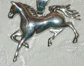 Large Sterling Silver Horse Pendant
