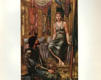 Antique Print, Romantic Classical 1920 wall art vintage color lithograph illustration painting
