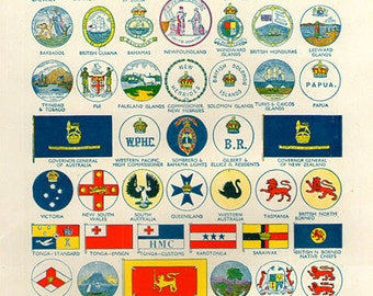 WORLD FLAGS PRINT 1950s 6967 illustrations lithograph paper print ephemeral upcycle recycle ephemera old mid century