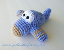 Baby Toy Airplane, Crochet Toy Airplane in Light Blue and Light Brown, Stuffed Airplane Toy, Crochet Baby Toy, Pilot Toy