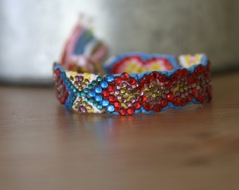 Crystal Friendship Bracelet (Red Yellow Blue Colour)