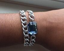 Double Wrap Denim Jeweled Bracelet