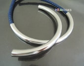Curved Tube Beads - Finding 2pcs Silver Plated Very Long Metal Curve Arc Tubes Bead 100mm x 7mm ( Inside 5mm Diameter )