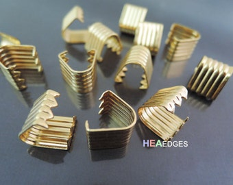 Finding - 10 pcs Gold Plated Adjustable Fold Over End Cap Crimp without Loop ( 11mm x 10mm )