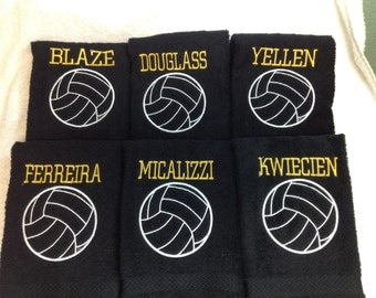 15 Personalized volleyball towel with outline ball and one name on each