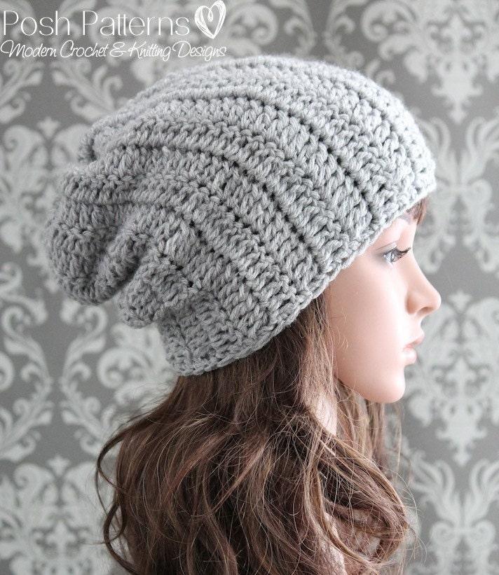 Crochet Slouch Hat: Crochet PATTERN Crochet Hat Pattern Slouchy Hat Pattern