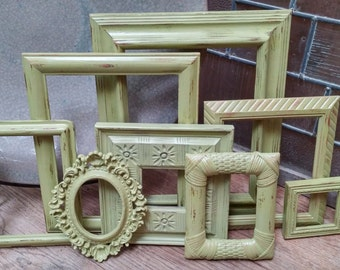 Empty Gallery Frames, Gentle Green, Distressed, Shabby Vintage Frame Set, Open Frames, Gallery Wall Frames