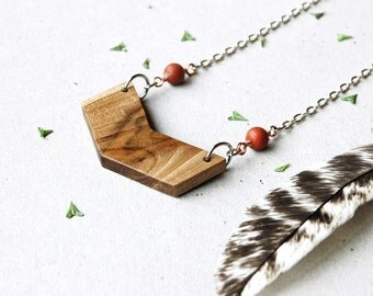 Chevron necklace long, natural wood necklace