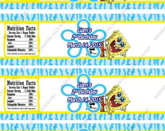 Spongebob Squarepants custom water bottle labels PDF