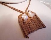 Statement 50s golden pearl modernist choker necklace