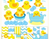 ON SALE Clip art and digital paper pack,duck bath toy MS 07,invites,little duck clip art,yellow duck,baby cute duck clip art ,Instant Downlo
