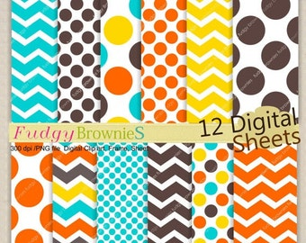 Kids Party Digital Paper Set _Birthday 12x12,Kids parties,Candy Colour digital background , No.95/2 yellow,orange ,Instant download, ON SALE