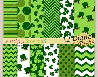 ON SALE SALE,digital paper backgrounds 7.5x11, St. Patrick's Day Shamrock digital paper , clover , No.173 printable paper , green chevron