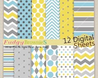 "ON SALE! Digital paper, 12""x12"", Kids party Colour digital background , No.203 printable background,blue ,grey, instant download"