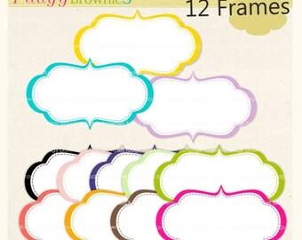 ON SALE Digital frame, Frames clipart, white background frame, digital scrapbooking frames.A-41,  Instant download