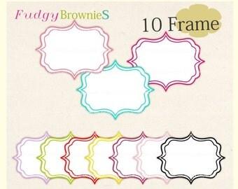 ON SALE Digital frame, square frames clipart, white background frame, digital scrapbooking frames.A-16 , Instant download