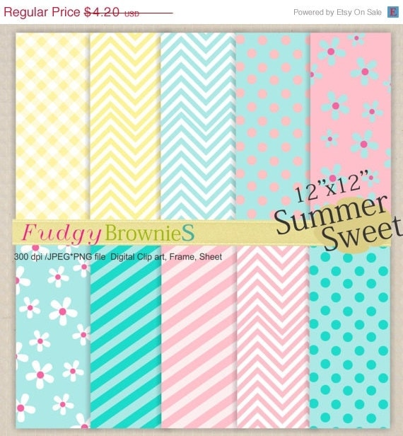 "ON SALE Digital paper pack12x12"", Soft colour Summer Sweet, scrapbooking , No 32, yellow, green , pink , blue , Instant download"