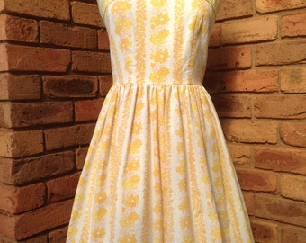 Lemon Vintage Floral Sundress or tea dress Size 12 AUD Ready to Ship