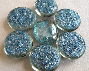 6 LARGE Flat Glass SLATE BLUE Glitter Gems - Half Marbles/Glass Nuggets - Mosaics/Wedding/Floral/Candle Display