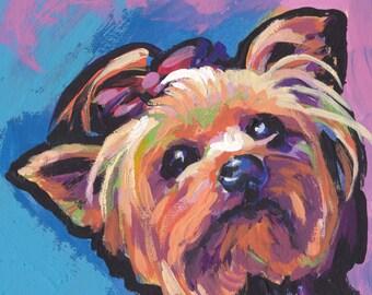 "Yorkshire Terrier yorkie dog art print of pop dog art painting bright colors 12x12""  LEA"