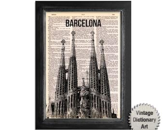 Barcelona La Sagrada Familia Spain Skyline - Cityscape printed on Recycled Vintage Dictionary Paper - 8x10.5 Dictionary Art Print
