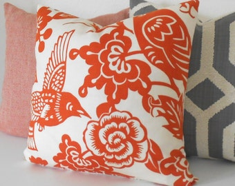 Red orange floral decorative pillow, Thomas Paul aviary  tangerine,  bird pillow