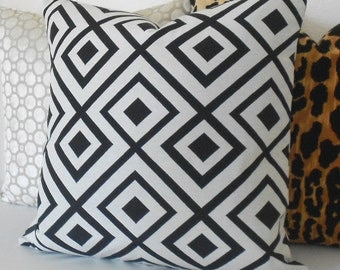 Double sided, Black and ivory modern geometric trellis decorative pillow cover, La Fiorentina look-alike
