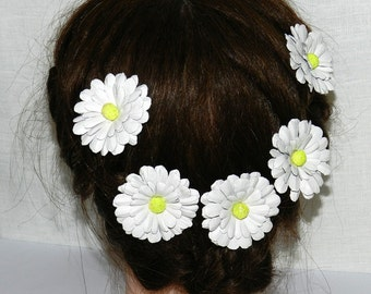 Daisy Leather Flower Hair pins, Daisy Hair pins set of 3 or 5 pcs.Bridal leather flower hair pin.