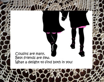 Cousin Greeting card Birthday gift thinking of you Pink Black silhouette