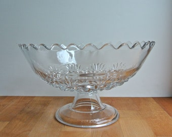 Early American Pressed Glass Pedestal Compote.