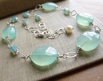 Aqua Chalcedony Necklace Beaded Necklace Gemstone Jewelry Swarovski Crystal Sterling Silver Blue Bride Necklace Chalcedony Jewelry