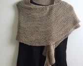 Hand Knit Crescent Wrap
