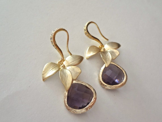 Gold Earrings - Orchids - Amethyst - Czech glass -14k Gold over Sterling Cubic Zirconia ear wires -  Bridal jewelry - Bridesmaids - Gift -