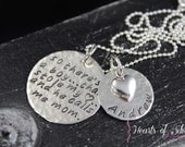 Mother Son Necklace- Hand Stamped Necklace- Personalized Necklace- Hammered Sterling Silver Mother's Necklace
