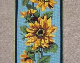 Vintage French needlepoint tapestry canvas embroidery - Sunflowers