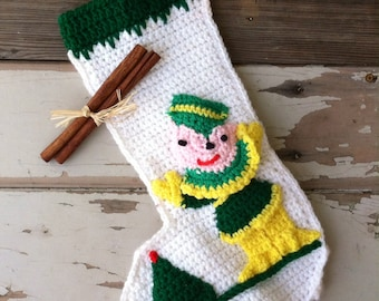 Vintage Christmas Elf Stocking - Retro Handmade Yarn Holiday Decor, Mantle Sticking, Christmas + Holiday Stocking, Festive Decor, Yarn Art