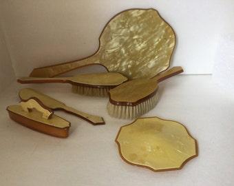 Art Deco Dresser Set, Vintage Dresser Set, 7 Piece Art Deco Dresser Set