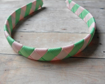 Mint and Pink woven headband