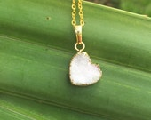 ON SALE!!! Gold Dipped Heart Druzy Necklace