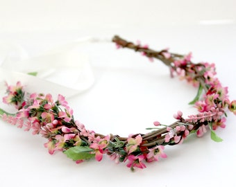 Bohemian Pink Flower Crown, Woodland, Summer, Hair Accessories,spring, Floral, boho, wedding, bridal headpiece, bridal crown