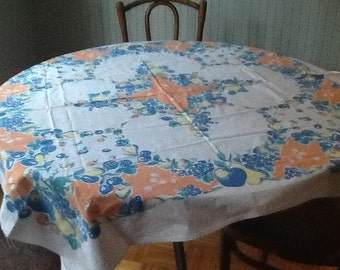 CHEERFUL vintage multicolored cotton tablecloth