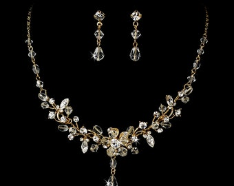 Swarovski Crystal jewelry, bridal jewelry set, Gold, Bridal necklace, Bridal earrings, Wedding jewelry, Wedding necklace and earrings